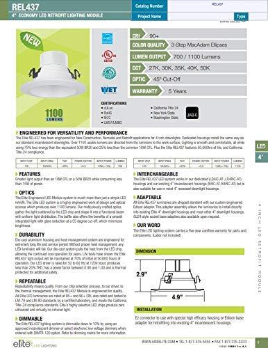 ELITE REL437-700L-DIMTR-120-30K-90-W-WH Dimmable 10W Fixture 3000K LED Retrofit Module
