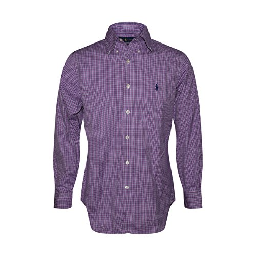 RALPH LAUREN Polo Mens Standard-Fit Pony Logo Dress Shirt (Purple Muave, - Polo Lauren Ralph Sales