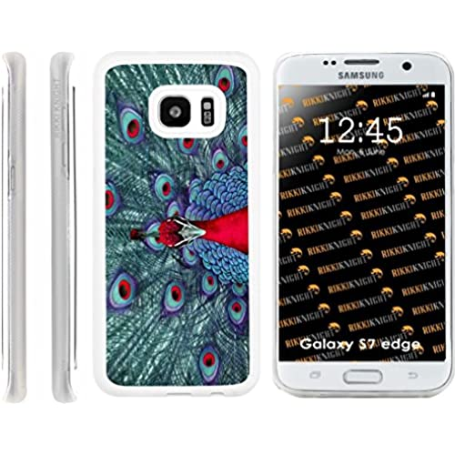 Rikki Knight Peacock Psychedelic Red Design Samsung Galaxy S7 Edge Case Cover (Clear Rubber with front Bumper Sales
