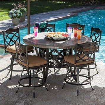 Beautiful Heirloom Slate Outdoor Patio Dining Set   7 Pc.