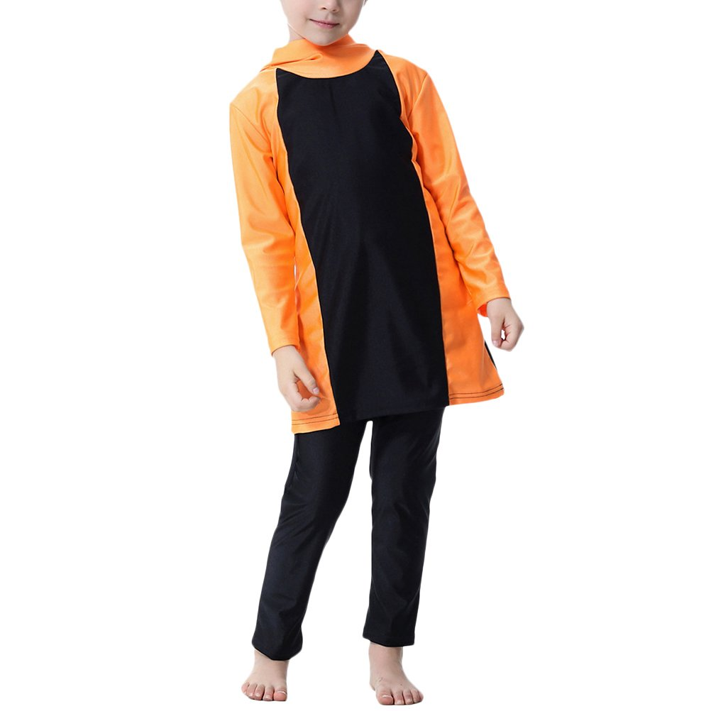 Zhhlinyuan Muslim Swimsuit Girls Kids Full Coverage Modesty Surfing Suit Burkini