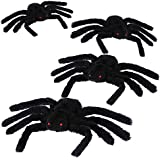 Jovitec 4 Pack Black Hairy Spiders Giant Spider Huge Spider Fake Hairy Spider Toys for Halloween Parties Haunted House Decorations, 12 Inches