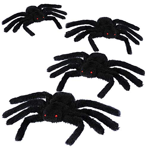 Jovitec 4 Pack Black Hairy Spiders Giant Spider Huge Spider Fake Hairy Spider Toys for Halloween Parties Haunted House Decorations, 12 Inches by Jovitec