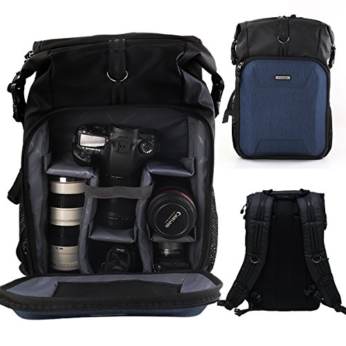 PROWELL Camera Backpack Professional DSLR SLR Bag Gadget Bag for Cameras,Lens,15'' Laptop Tablet and Accessories with Rain Cover, Blue Black by PROWELL