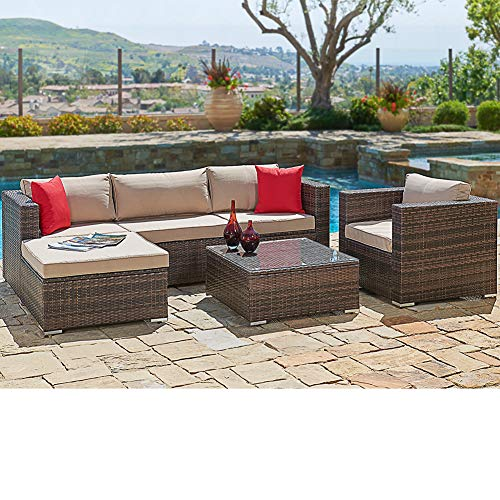 SUNCROWN Outdoor Patio Furniture Sectional Sofa & Chair (6-Piece Set) All-Weather Brown Checkered Wicker with Brown Seat Cushion & Modern Glass Coffee Table | Garden, Backyard, Pool | Waterproof Cover