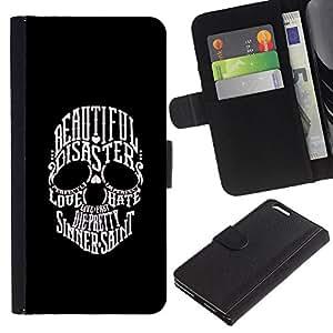 A-type (Hermosa Sinner San Cráneo Negro Blanco) Colorida Impresión Funda Cuero Monedero Caja Bolsa Cubierta Caja Piel Card Slots Para Apple (5.5 inches!!!) iPhone 6+ Plus / 6S+ Plus