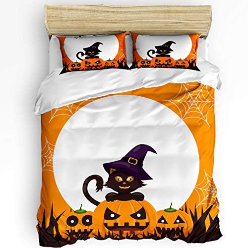 (Clouday King Duvet Cover Set 3 Pieces Bed Sheet Set for Women Men,Orange Halloween Pumpkin The Wizard Design Bedding Sets Home Collection,Include 1 Comforter Cover with 2 Pillowcases)