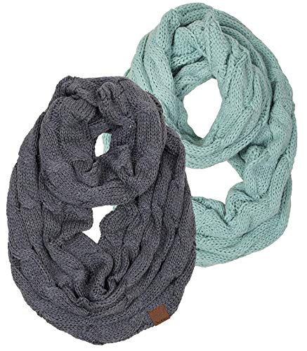 Knit Fashion Scarf - S1-6100-2-5466 Infinity Scarf Bundle - 1 Solid Mint, 1 Solid Mel Grey (2 Pack)