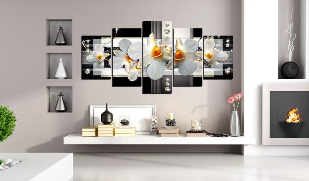 Sunny Orchids Wall Art Flower Canvas Print Abstract Painting Black and White Floral Artwork
