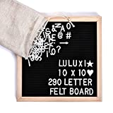 Letter Board with Stand, 10x10 Inch, Changeable Felt Letter Board Oak Frame With 258 White Letters, Mounting Hook, Canvas Bag