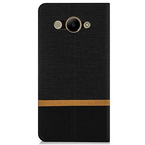 Funda Huawei Y3 (2017) Case [Zanasta Designs] Cubierta Carcasa Flip Cover Tapa Delantera con Billetera para Tarjetas Protectora de Alta Calidad, Cierre Abatible Azul Negro