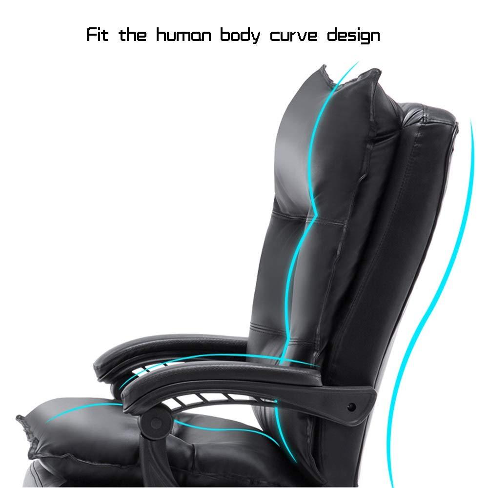 Verkställande svängbar stol med fotstöd hög rygg vilande verkställande ergonomisk kontorsskrivbordsstol läder skrivbord spelstol bärkapacitet: 330 kg BEIgE Brun