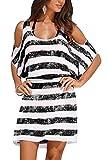 Upopby Women's Striped Loose Kaftan Bikini Swimsuit Beach Cover up Dress Black M