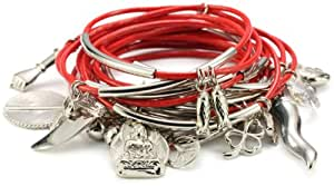 Accessories and Beyond Set of 15 Tomato Color Leather Bangles