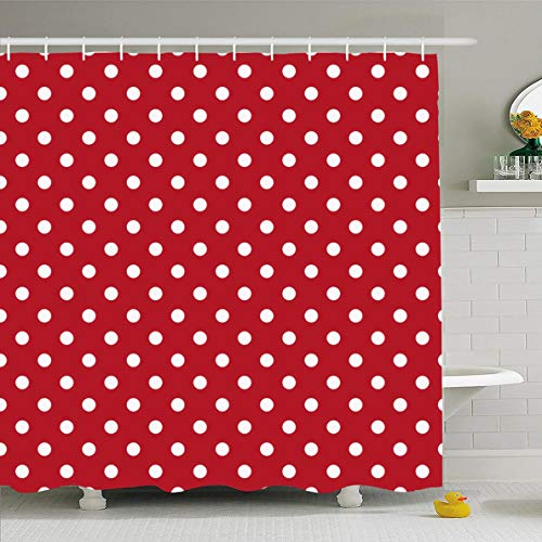 Ahawoso Shower Curtain 60x72 Inches Red Yellow Poka Polka Dots White Vintage Abstract Polkadot Pattern Black Retro Design Waterproof Polyester Fabric Bathroom Curtains Set with Hooks