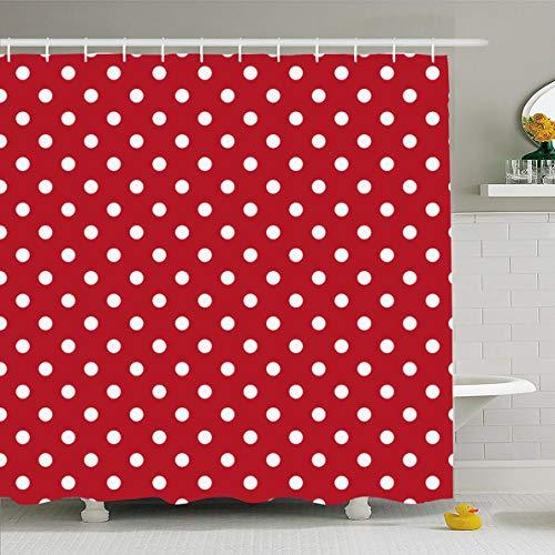 Ahawoso Shower Curtain 60x72 Inches Red Yellow Poka Polka Dots White Vintage Abstract Polkadot Pattern Black Retro Design Waterproof Polyester Fabric Bathroom Curtains Set with Hooks (Polka Dot Bathroom)