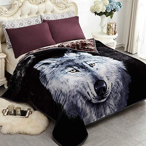 JYK Heavy Korean Mink Fleece Blanket - 2 Ply Reversible 520GSM Silky Soft Plush Warm Blanket for Autumn Winter (Queen, Dark Wolf/Wolf) (Plush Blanket Wolf)