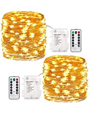 Pack of 2Pcs 33ft 100 LEDs Outdoor String Lights Battery Operated Fairy Lights 8 Mode Waterproof Copper Wire Lights for Bedroom, Garden, Easter, Xmax Decoration (Warm White)