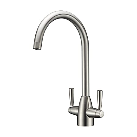 refin solid brass kitchen taps double levers brushed steel modern