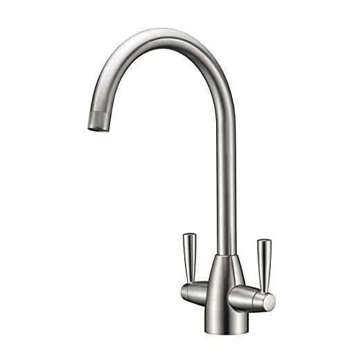 Refin Solid Brass Kitchen Taps,Double Levers Brushed Steel Modern Swivel  Spout Sink Mixer Kitchen