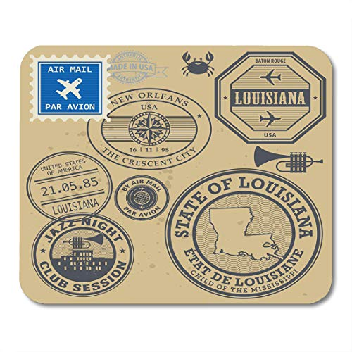 - Emvency Mouse Pads Jazz Vintage Post Stamps Name of Louisiana New Orleans Mouse Pad for notebooks, Desktop Computers mats 9.5