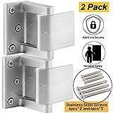 Security Door Lock with 12 Stainless Steel Screws, Child Proof Door Reinforcement Lock with 3'' Stop for Inward Swinging Door,Privacy Door Latch for Home Or Hotels(Silver-2Pack)