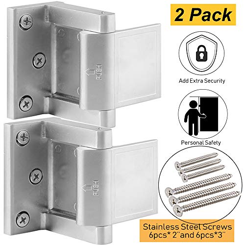 (Security Door Lock with 12 Stainless Steel Screws, Child Proof Door Reinforcement Lock with 3