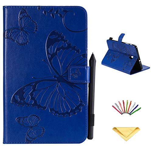 Uliking Case for Samsung Galaxy Tab A 8.0 inch Tablet 2017 Model SM-T380/T385, Vintage Folio Stand Embossed Floral Print PU Leather TPU Wallet Magnetic Cover with Pocket Card Slots, Blue Butterfly]()