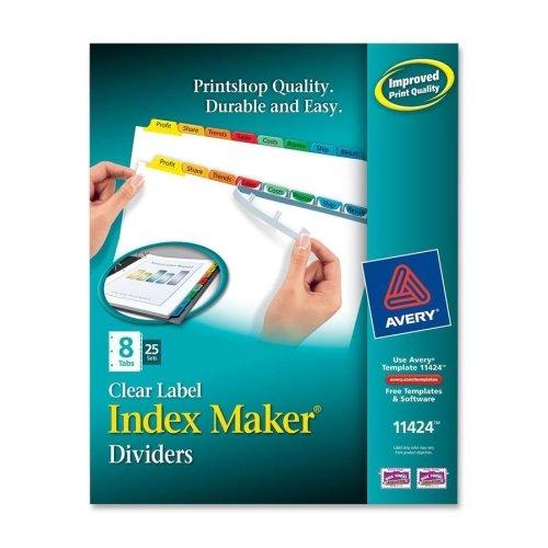 Maker Laser Punched 3 Tab (Wholesale CASE of 3 - Avery Index Maker Punched Clear Label Tab Dividers-Index Maker, Laser/Inkjet, 8 Tab, 25-Set, Multicolor)