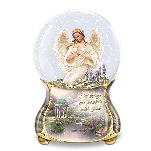 Thomas Kinkade Angel Musical Glitter Globe with Prayer Card by The Bradford Exchange (Musical Snowglobe Angel)