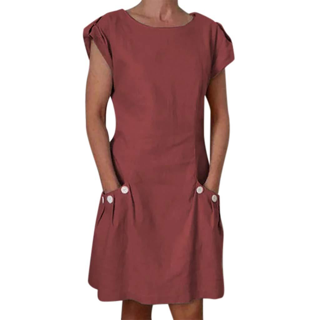 Women O-Collar Cotton Dress | hopwin Lady Casual Solid Color Ruffled Button Pocket Short Sleeve Sundress (XXL, Wine)