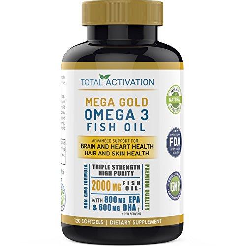 Mega Gold Omega 3 Triple Strength Burpless Fish Oil, Advanced Support Supplement For Brain, Skin, Hair & Heart Health Power, High Potency EPA DHA, Vitamin E, 2000mg, Non-GMO, 120 Small Liquid (High Strength Vitamin)