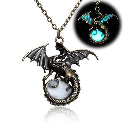 Yaoding Magical Constellation Dragon Glow in the Dark Openwork Pendant Charms Necklace