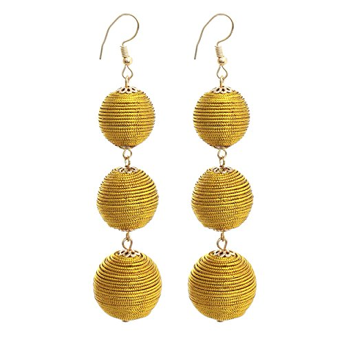Rosemarie Collections Women's Thread Ball Drop Fashion Earrings (Shiny Gold)