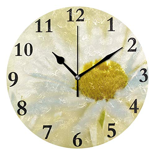 FunnyCustom Round Wall Clock White Petals Yellow Flower Acrylic Creative Decorative for Living Room/Kitchen/Bedroom/Family