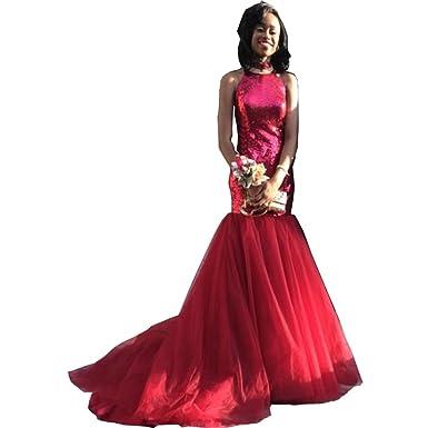 Chady Mermaid Burgundy Black Girl Prom Dresses 2017 Sheer O-Neck ...
