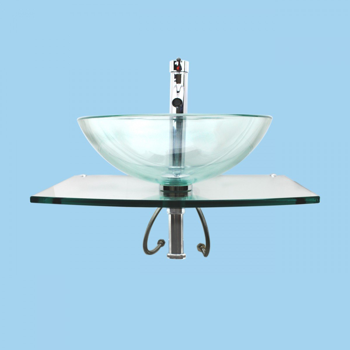 Halo Clear Tempered Glass Vessel Sink Complete Set With Chrome ...