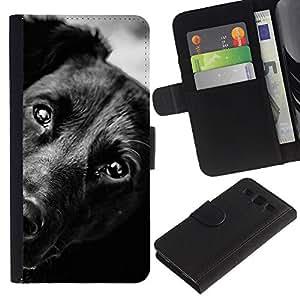 Billetera de Cuero Caso del tirón Titular de la tarjeta Carcasa Funda del zurriago para Samsung Galaxy S3 III I9300 / Business Style Black Mutt Mongrel Dog Face Muzzle