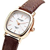 Gets Women Small Square Dial Leather Strap Classic Unisex Dress Unusual Quartz Watchs