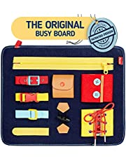 Toddler Busy Board - Montessori Sensory Activity Board for Toddlers - Develops Basic and Fine Motor Skills - Learn to Dress Toys for 1 2 3 4 Year Old Kids - Learning Toy for Airplane or Car Travel