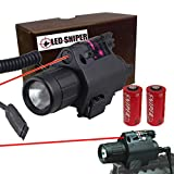 Ledsniper® 500lm Tactical Red Dot Laser Sight & Cree Flash Light Combo for Pistol/rifle 20mm Rail Use Two Cr123a Lithium