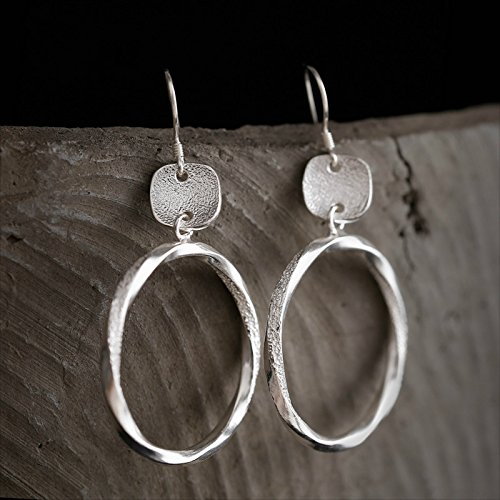 Hill Tribe Silver Circle - Hand Stamped Vintage S990 Silver 30*4 mm Circle Drop Earrings With Gift Box Packing,Sterling Silver Drop Earrings,Women Earring,Gift For Her
