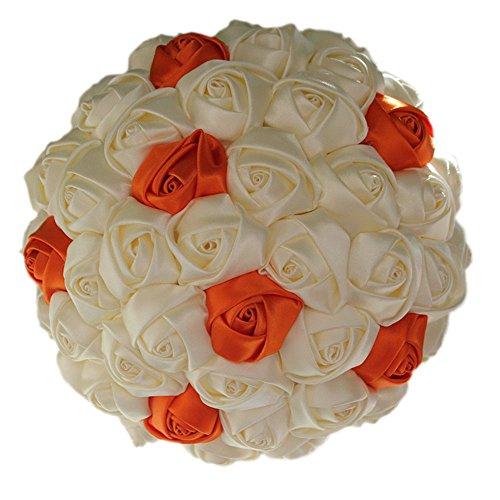 KUPARK Handmade Romantic Ribbon Rose Bridal Bridesmaid Bouquet Wedding Decoration Gift for Valentine's Day (Dia: 21cm, (Ribbon Bouquet Pin)