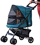 Pet Gear No-Zip Happy Trails Pet Stroller for Cats Dogs - Zipperless Entry - Easy Fold with Removable Liner - Storage Basket + Cup Holder - Emerald