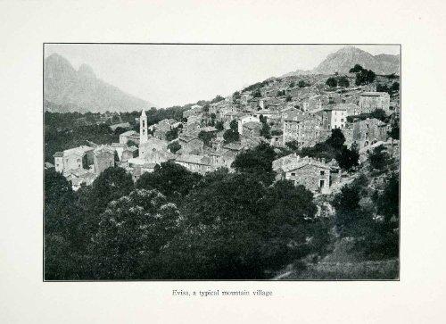 Hillside Village (1926 Print Evisa Corsica France Cityscape Landscape Mountain Village Hillside - Original Halftone Print)