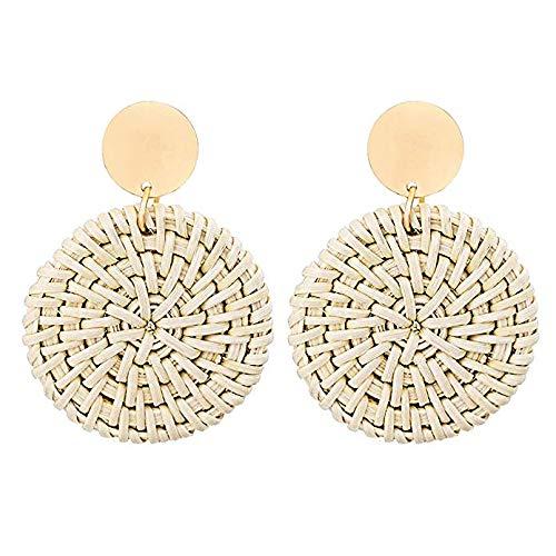 Rattan Earrings for Women Handmade Straw Wicker Braid Drop Dangle Earrings Lightweight Geometric Statement Earrings (round-A-biege)
