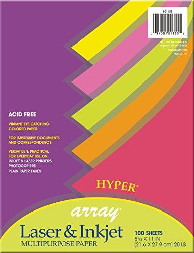 Assortment Hyper Colors (Pacon  Multi-Purpose Paper, 20 lb., Assorted 5 Hyper Colors,  8-1/2