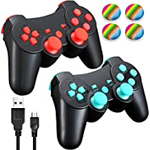 PS3 Wireless Controller with Charging Cable, 2 Pack Bluetooth Double Vibration Sixaxis Gamepad Joystick for Sony PlayStation 3 DualShock 3 (1 Charge&Play Cord Included)