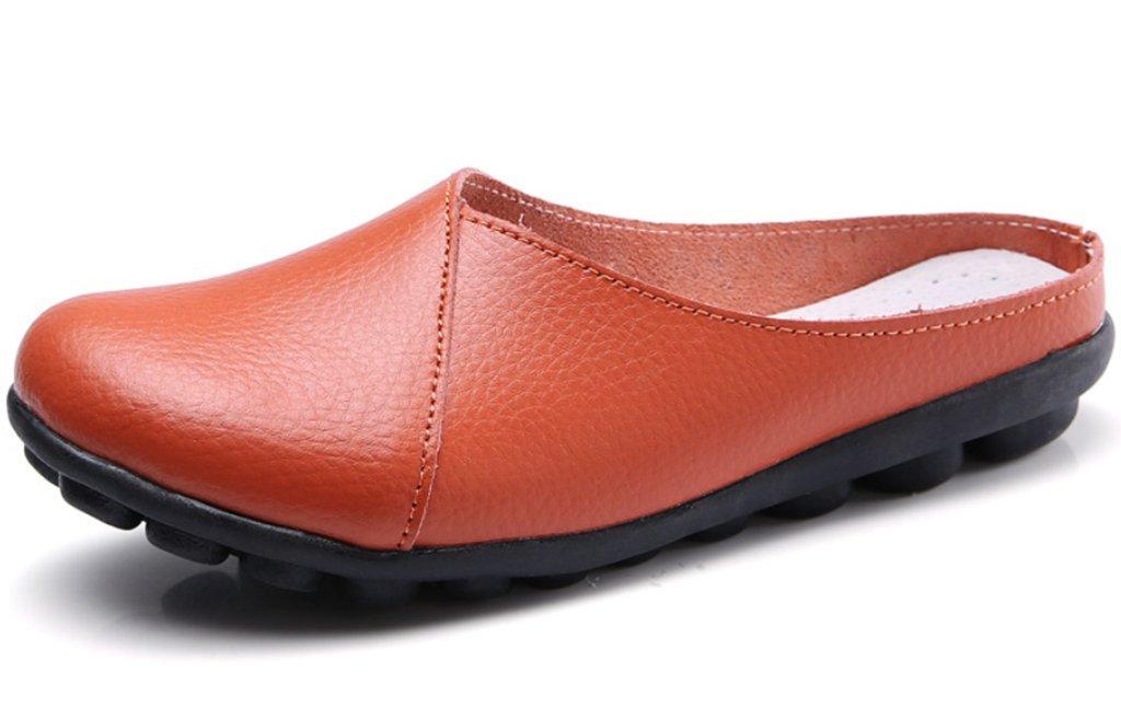 Clarsunny Women's Leather Casual Flat Slipper Soft Closed Toe Slip-on Loafer (7 B(M) US, Orange)