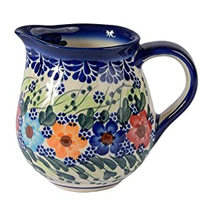 Traditional Polish Pottery, Handcrafted Ceramic Cream or Milk Jug 275ml, Boleslawiec Style Pattern, J.101.Garland